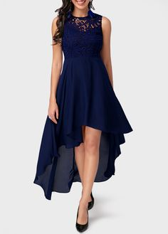 Lace Panel High Low Navy Blue Dress on sale only US$38.21 now, buy cheap Lace Panel High Low Navy Blue Dress at liligal.com