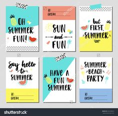 Vector set of Summer holiday cards. Hand drawn posters or greeting card with handwritten calligraphy quotes, words and phrases.