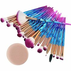 Express Yourself With This Unique Makeup Brush Set! Soft bristles will blend your makeup to PERFECTION! Colorful geometric diamond patterns on the brush give it a creative flair! An astounding 20 piece brush set will fulfill your makeup needs! Affordable Makeup Brushes, Best Makeup Brushes, How To Clean Makeup Brushes, Eyeshadow Brushes, Best Makeup Products, Contour Eyeshadow, Beauty Brushes, Beauty Products, Diy Makeup Brush