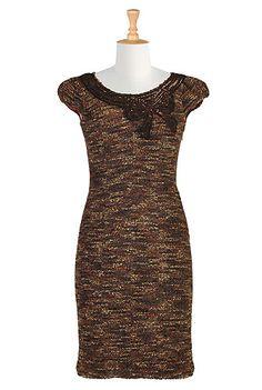 Sequined bow tweed sheath dress