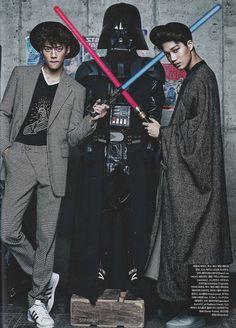 Vogue Korea, December 2015 Issue : EXO x STAR WARS Collaboration - Sehun and Kai