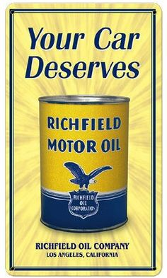 Richfield Motor Oil Metal Sign for Gas Station/Garage Wall