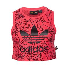 Women's adidas Dear Baes Crop Tank ($35) ❤ liked on Polyvore featuring tops, workout, red, floral tank, red crop top, floral crop top, adidas singlet and crew neck tank top