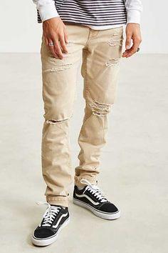 BDG Destructed Tan Skinny Jean