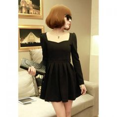 Retro Style Square Neck Ruffle Hem Narrow Waist Puff Sleeve Solid Color Dress For Women  $9.02
