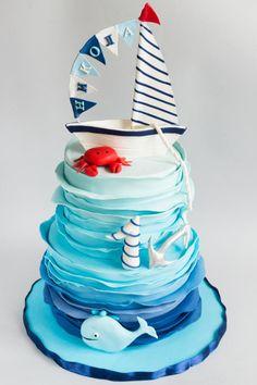 Nautical cake Birthday cake for a little boy! Nautical Birthday Cakes, Nautical Cake, Baby Birthday Cakes, Cake Baby, Nautical Quilt, Nautical Star, Nautical Christmas, Nautical Bedroom, Nautical Flags