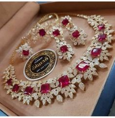 bridal jewelry for the radiant bride Ruby Jewelry, Jewelry Sets, Gold Jewelry, Fine Jewelry, Jewelry Necklaces, Ruby Necklace, Jewellery Rings, Indian Wedding Jewelry, Indian Jewelry