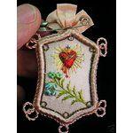 eBay Image 1 Antique Sacred Heart Embroidered Detente, Lot # 2a