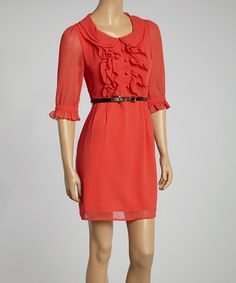Another great find on #zulily! Orange Fray Belted Three-Quarter Sleeve Dress by Deep or Shallow #zulilyfinds