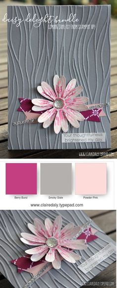 Stampin Up Daisy Delight bundle, seaside embossing folder, Powder Pink, Berry Burst, emboss resist with watercolor. Claire Daly, Stampin' Up! Demonstrator Melbourne Australia.