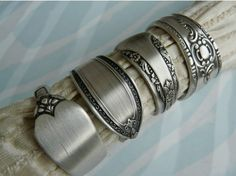 Repurposed Silverware Napkin Rings, Handmade set of 4 from Silver plated Flatware.