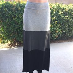 Colorblock Maxi Skirt Soft trendy maxi skirt made of 96% Rayon/ 4% Spandex. Made in the USA. Pastels Clothing Skirts Maxi