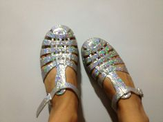 Jelly shoes jellies sparkly and holographic 90s