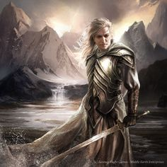 Glorfindel: Captain of Gondolin, Saved Turgon, Killed a Balrog in single combat, Prophesied the Witch King would not be slain by a man. NOT the Glorfindel of the Third Age living in Rivendell. Thranduil, Legolas, Fantasy World, Fantasy Art, Character Inspiration, Character Art, Glorfindel, Morgoth, Balrog