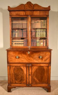A Stylish Regency mahogany Secretaire bookcase of small proportions lovely colour and patination and a superb interior Walton House, Antique Bookcase, Regency, Colour, Antiques, Stylish, Interior, Room, Home Decor
