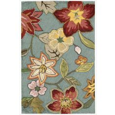 A charming floral design gives this hand-hooked blue rug an elegant look, making it the perfect addition to your home or office. Made of polyacrylic and featuring a pile height of 0.375 inches, this casual rug is not only beautiful but heavy-duty.