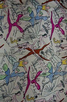Jacqmar printed silk ballet scarf