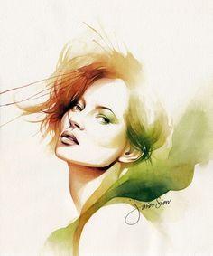 'Classy beauty - Kate Moss' – Watercolour portrait by Jason Siew | Illustrious World | #Illustriousio