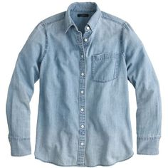J.Crew Chambray Pocket Shirt (110 CAD) ❤ liked on Polyvore featuring tops, shirts, blouses, button up, blue top, chambray top, blue button up shirt, blue button shirt and button shirts