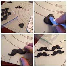 Mustache cupcake toppers using a heart cutter - awesome idea from Jennifer Burton.  Just mount them onto a circle of fondant to make the topper.                                                                                                                                                                                 More