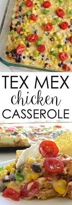 This TEX MEX Chicken Casserole is super easy and delicious! easy chicken recipes easy casseroles