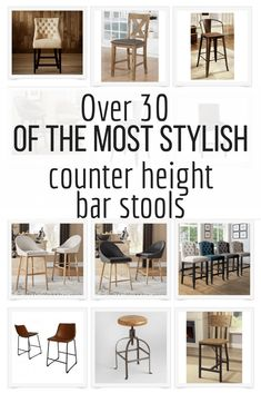 Over 30 of the most stylish counter height bar stools I could find on the internet! Deck out your kitchen with new bar stools. They make such a huge difference! #TwelveOnMain #kitchendecor #kitchenisland