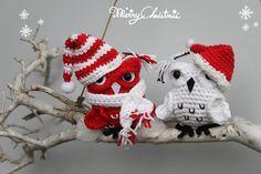 Cristmas owl - Free crochet pattern. Kerstuiltjes gehaakt met Scheepjes Catona