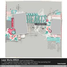 Layer+Works+No.+634 scrapbook page in a layered PSD file and PNG page drop #designerdigitals
