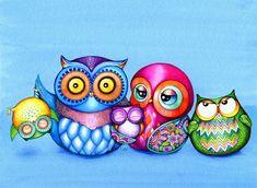 Owl Family Portrait Print by Annya Kai