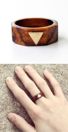 Wood + Metal Geo Ring