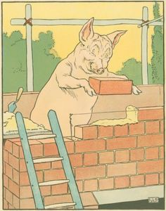 The three little pigs.....I borrowed this version from the C-town library all the time when the girls were little.