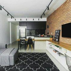 Inspiração ♡ #interiores #design #interiordesign #decor #decoração #decorlovers #archilovers #inspiration #ideias #integrado #sala #living #saladetv #hometheater #cozinha #kitchen