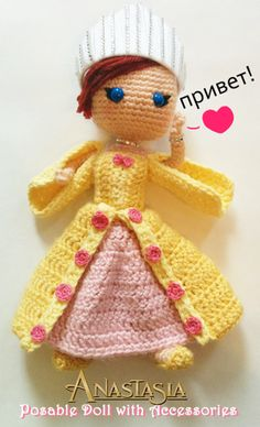 Princess Anastasia amigurumi crochet doll made by The Craftzilla. No pattern, as it was a custom commission. See more at https://www.facebook.com/thecraftzilla