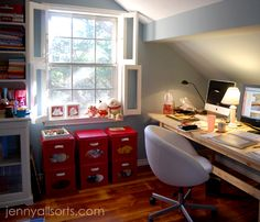 bright red small file cabinets.