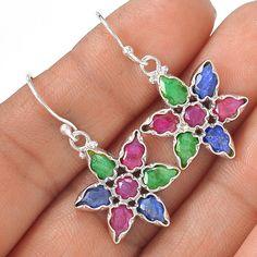 Ruby, Sapphire & Emerald 925 Sterling Silver Earring Jewelry EE14555 | eBay