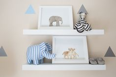 See what it takes to craft a modern yet serene nursery perfect for a little baby boy. Little Babies, Baby Kids, Baby Boy, Cheap Hobbies, Hobbies And Crafts, Elephant Nursery, Nursery Inspiration, Nursery Themes, Open Shelving