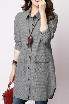 Casual Long Sleeve Shirt Collar Plaid Loose-Fitting Women's Shirt Blouses | RoseGal.com Mobile