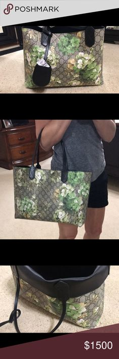Gucci Bloom in rare Green Gucci Bloom in rare Green. Bought in Las Vegas two years ago. A perfect reversible tote bag for any occasion! Gucci Bags Totes