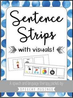 60 sentence strips with visuals! Perfect for speech and language therapy. I keep mine on a binder ring for easy grab and go therapy! From Speechy Musings.