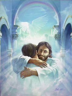 "Have you ever had a ""Jesus hug"", Do you know what one feels like? If you've never had a ""Jesus hug"", I pray one day you might. A ""Jesus hug"" is different, As far as hugging goes; It's a little taste of Heaven, Here on earth below. Braut Christi, Akiane Kramarik Paintings, Image Jesus, Poster Print, Art Print, Jesus Pictures, Heaven Pictures, Jesus Pics, Heaven Images"