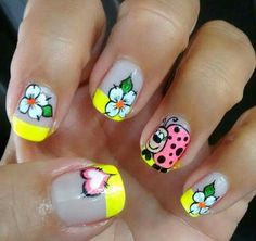 Cute Nail Art, Cute Nails, Pretty Nails, Spring Nail Art, Spring Nails, Hair And Nails, My Nails, Nail Polish Style, Manicure And Pedicure