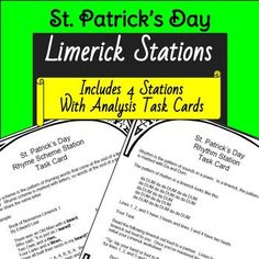 Celebrate St. Patrick's Day while also polishing your students' analysis and writing skills!  This fun activity also aligns with the Common Core State Standards.  Students visit four Limerick Analysis Stations around your classroom analyzing rhyme scheme, rhythm, tone and mood, and content.