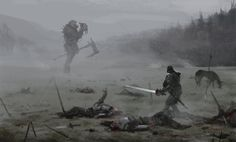 Mutant knight painting by Jakub Rozalski