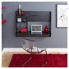 Prepac Kurv Floating Desk in Black Floating Wall Desk, Desk Chair Target, Wall Mounted Desk, Desks For Small Spaces, Ideas Hogar, White Laminate, Black Desk, Home Office Furniture, Pallet Furniture