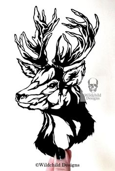 Stag Head Gothic Silhouette Paper Cut Template for Personal