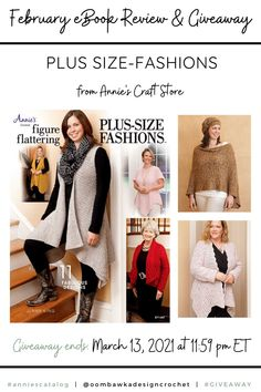 Figure Flattering Plus Size Fashions Crochet Pattern Book - Annie's Craft Store - Book Review and Giveaway. Ends March 13, 2021 at 11:59 pm ET. Annie's Crochet, Crochet Books, Crochet Patterns, Plus Size Patterns, V Stitch, Fashion Figures, Crochet Fashion, Book Reviews, Single Crochet