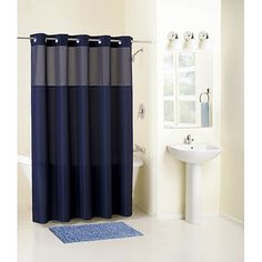 Mainstays Hookless Fabric Shower Curtain Navy