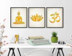 Yoga Gold Watercolor Wall Art Print Set of 3 - Modern Home Decor - Buddha Ohm…