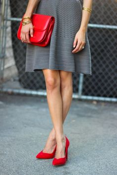 Grey dress with pops of red - perfect contrast!