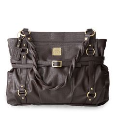 Quincy (Prima)- Faux leather in deepest dark chocolate--crocodile pattern and sophisticated criss-cross buckled strap details with rich antique brass hardware